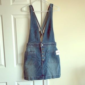 NWT free people overall denim skirt